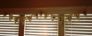 The banner I made from burlap and chose my own phrase since the ones on-line didn't quite strike me. I wrote the letters with markers and strung it on twine.