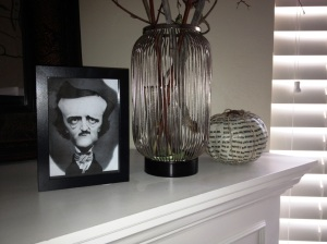 I printed out the picture--I chose a caricature version--of Poe and picked up the frame at Ikea for less than $2. I also printed out the poem that is on this pumpkin.